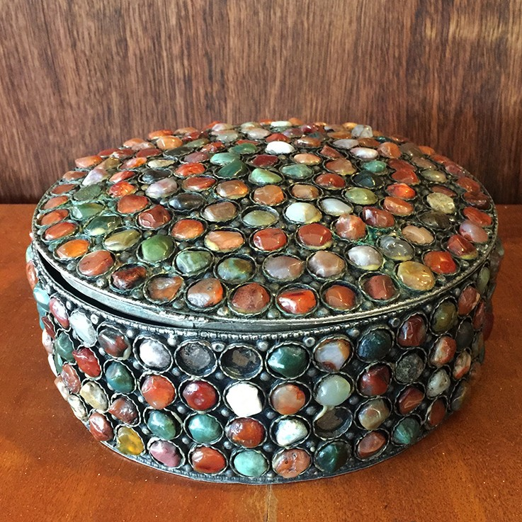 Agate Circular Tin (seven stones missing) $45.00 by MISCELLANEOUS ITEMS