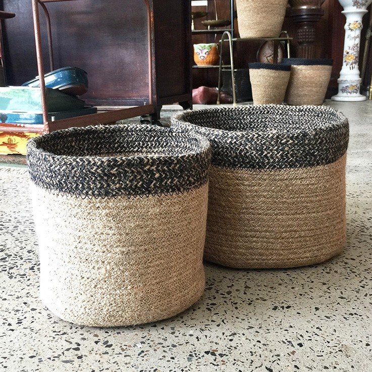 Braided Jute Basket Black Zig-zag Band (various prices) by FAIR TRADE BASKETS