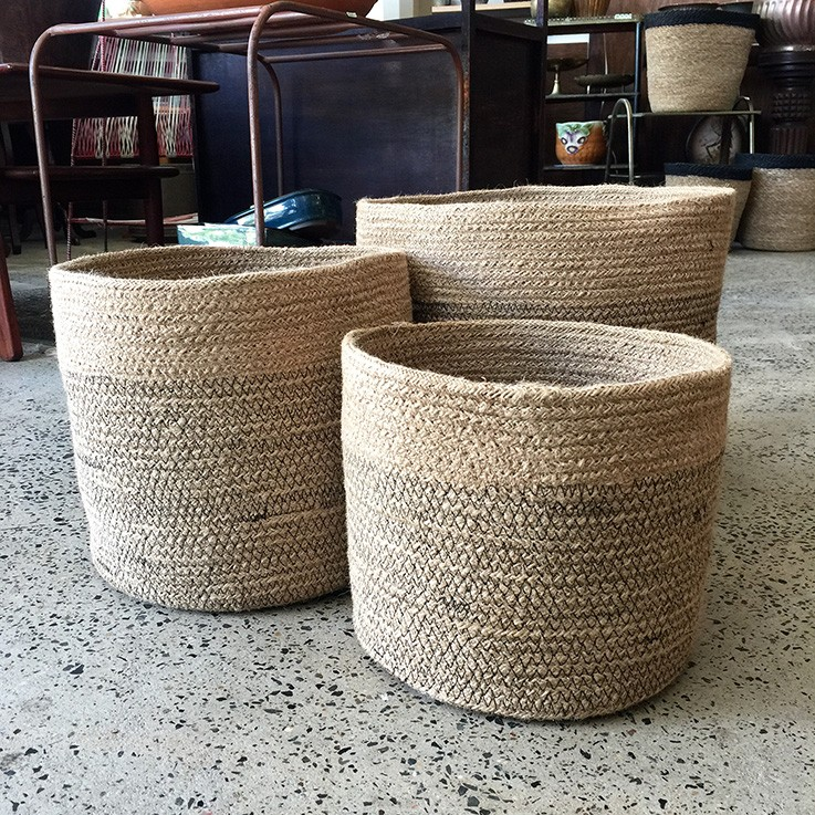 Braided Jute Baskets Lower Black Thread Band (various prices) by FAIR TRADE BASKETS
