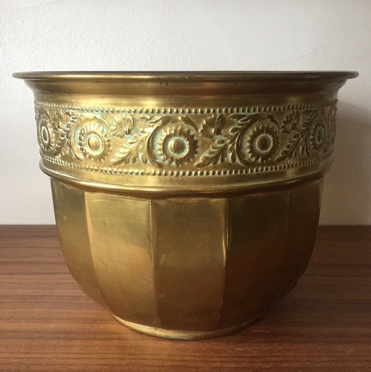 Brass Planter Foliage Band Design, England $35.00 by VINTAGE METAL PLANTERS