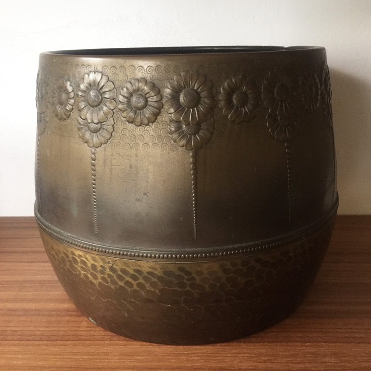 Brass Planter Hammered and Floral Design $58.00 by VINTAGE METAL PLANTERS