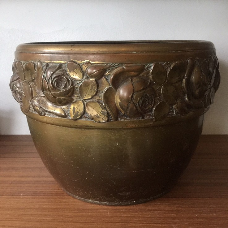 Brass Planter with Embossed Rose Upper Band, Germany (dent top edge) $60.00 by VINTAGE METAL PLANTERS