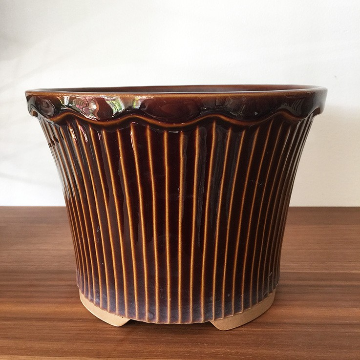 Chocolate Brown Glazed Ribbed Plant Pot, Japan (some faint staining lower outer edge) $25.00 by VARIOUS PLANTERS & POTS