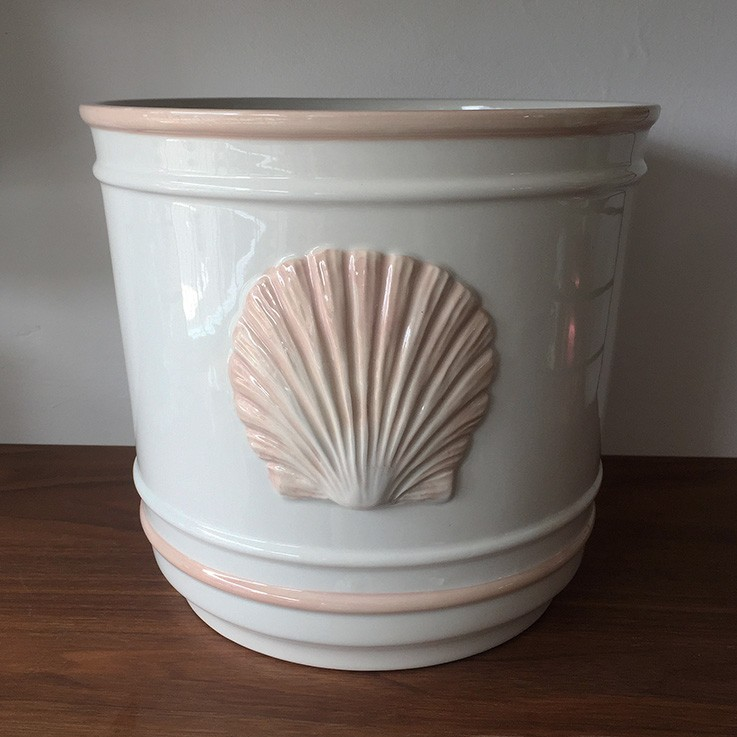 White Glazed Planter with Relief Pink Clam Shell Form $70.00 by VARIOUS PLANTERS & POTS