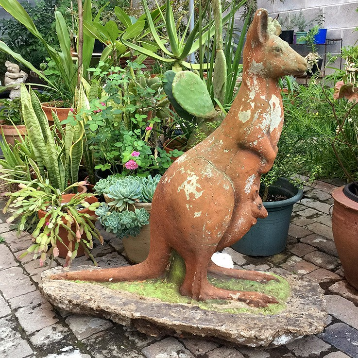 Concrete Kangaroo (missing ear, wear)$350.00 by GARDEN ORNAMENTS