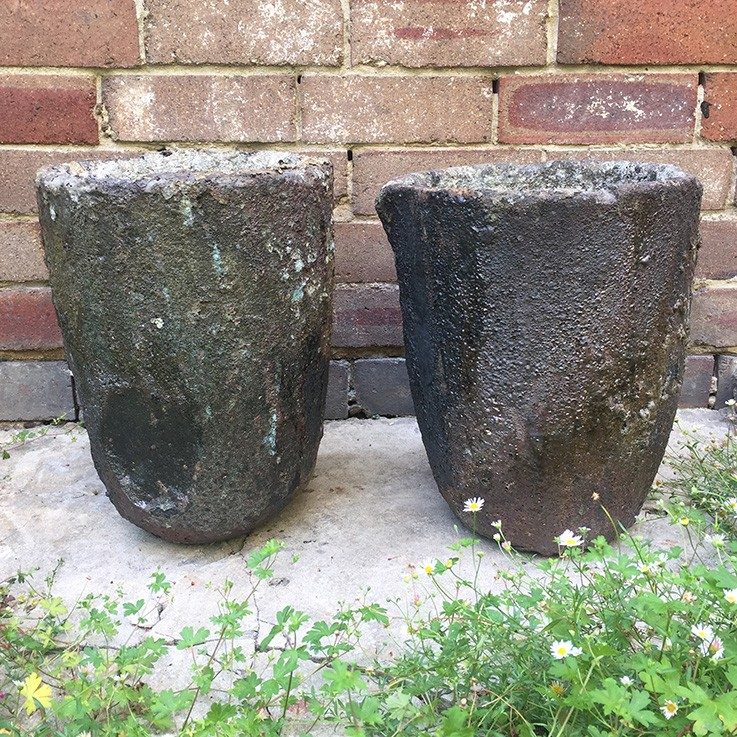 Graphite and Clay Large Crucibles (original) $275.00each by VINTAGE PLANTERS, POTS & TROUGHS