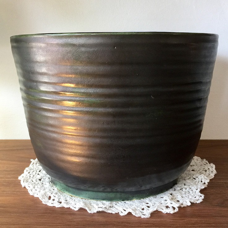 Dark Green Glazed Thrown Planter (chip to top edge) $68.00 by VINTAGE PLANTERS, POTS & TROUGHS