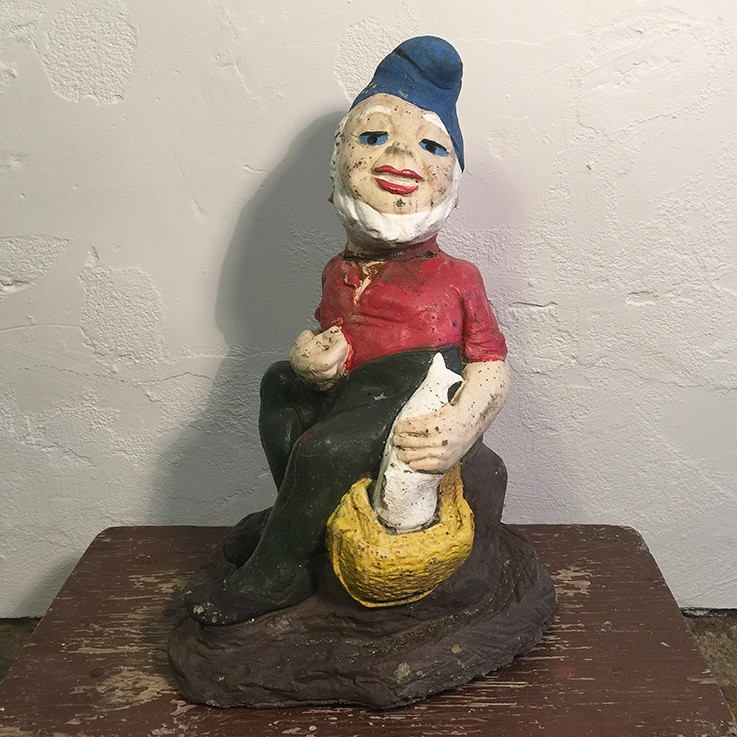 Painted Gnome Seated with Fish in Basket (repaired neck) $68.00 by VINTAGE GNOMES