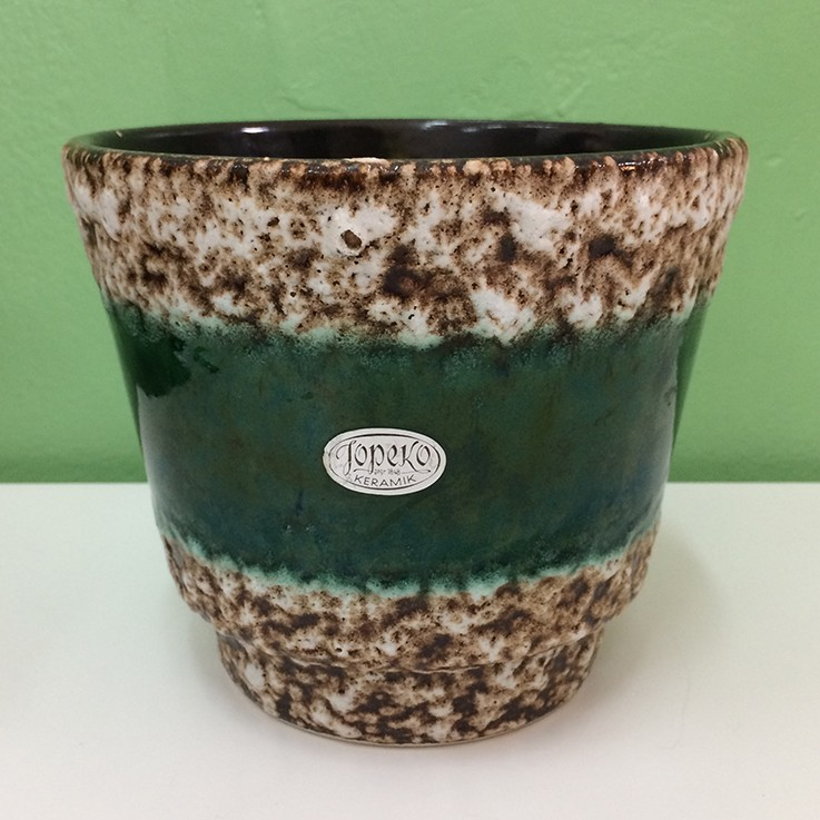 Jopeko Green with White Textured Bands Planter West German 1970's $60.00 by VINTAGE PLANTERS, POTS & TROUGHS