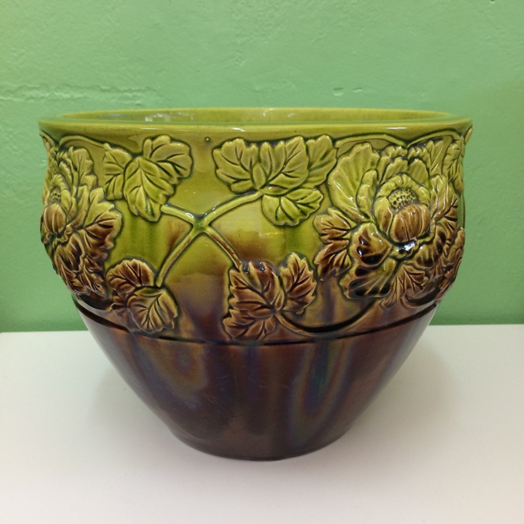 Olive Green/Brown Drip Glaze Floral Design Jardiniere (Japan) $95.00 by FLORAL/FOLIAGE PLANTERS