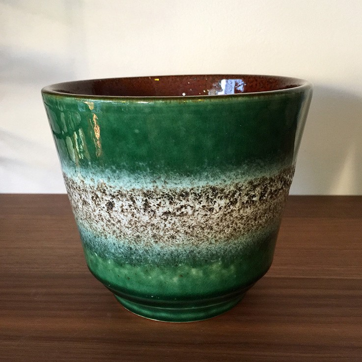 Green with White Textured Band Internal Brown West Germany $40.00 by VARIOUS PLANTERS & POTS