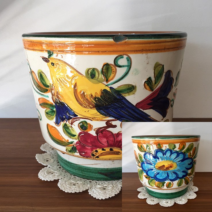 Italian Decorative Planter (disguised chip to top edge) $58.00 by VARIOUS PLANTERS & POTS