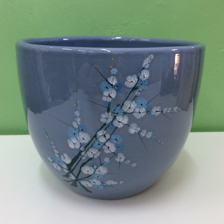 Powder Blue with Blossom Illus. Made in Italy Planter $60.00 by FLORAL/FOLIAGE PLANTERS