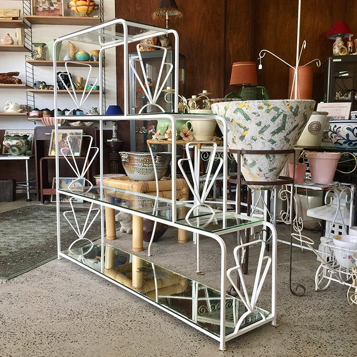 Mid-Century Four Tiered Wrought Iron Plant Stand $485.00 by VINTAGE OUTDOOR PLANT STANDS