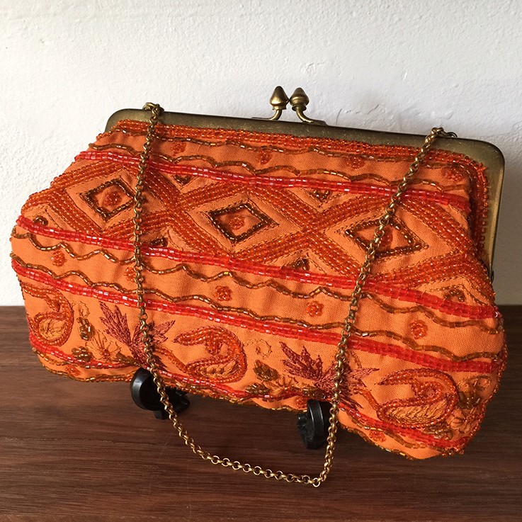 Orange Tapestry and Beaded Bag Made in India $30.00 by HAND BAGS AND PURSES