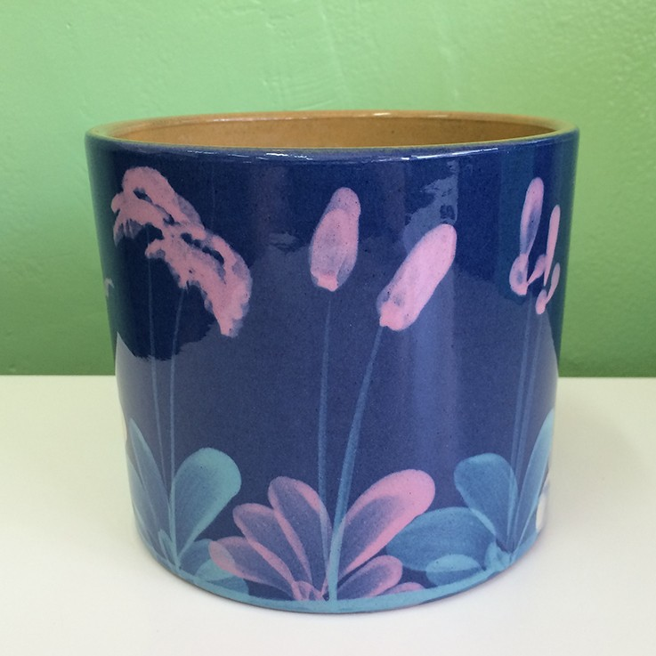 West Germany Pottery Pink/Pale Blue Floral Design Internal Mustard Glaze by FLORAL/FOLIAGE PLANTERS
