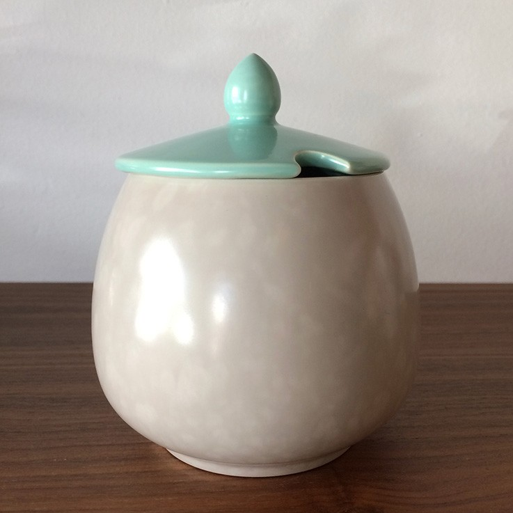 Poole Twin Tone Ice Green/Seagull White Lidded Sugar Bowl $25.00 by TEA POTS, COFFEE POTS, CUPS, SAUCERS & CREAMERS