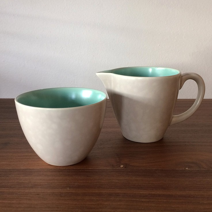 Poole Twin Tone Small Sugar Bowl and Creamer by TEA POTS, COFFEE POTS, CUPS, SAUCERS & CREAMERS