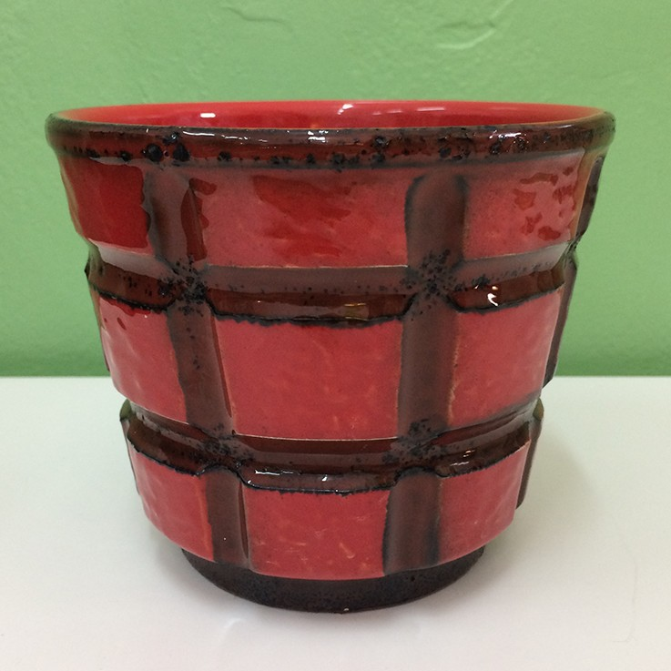 Red Tartan Square Relief Planter West German 1970's $50.00 by VARIOUS PLANTERS & POTS