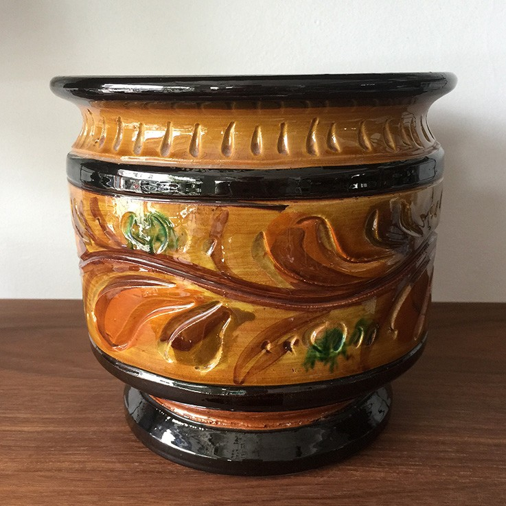Ceramic Rustic Coloured Glazed Jardiniere, Foliage Design $45.00 by VARIOUS PLANTERS & POTS