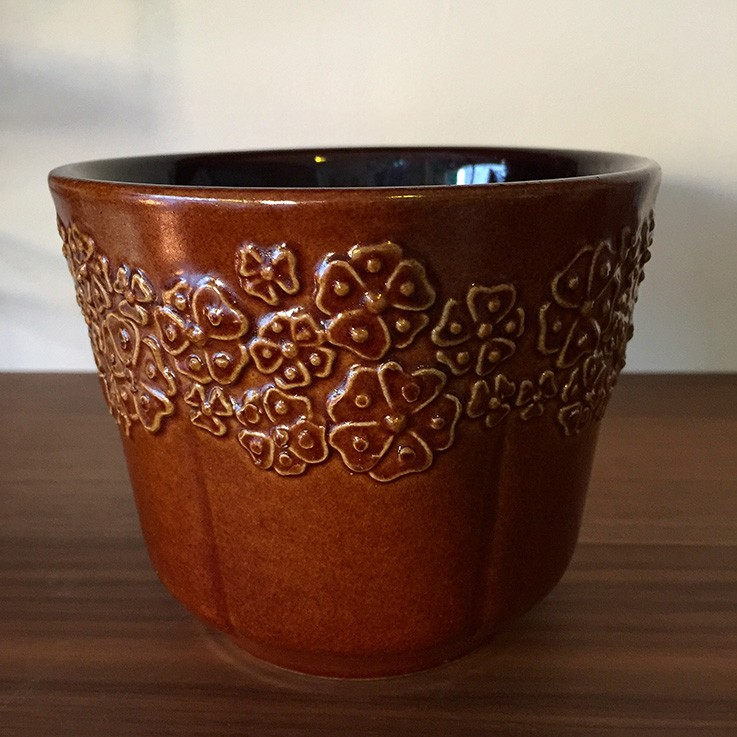Caramel Glaze West Germany Petite Planter with Floral Design (753 12) $35.00 by VARIOUS PLANTERS & POTS