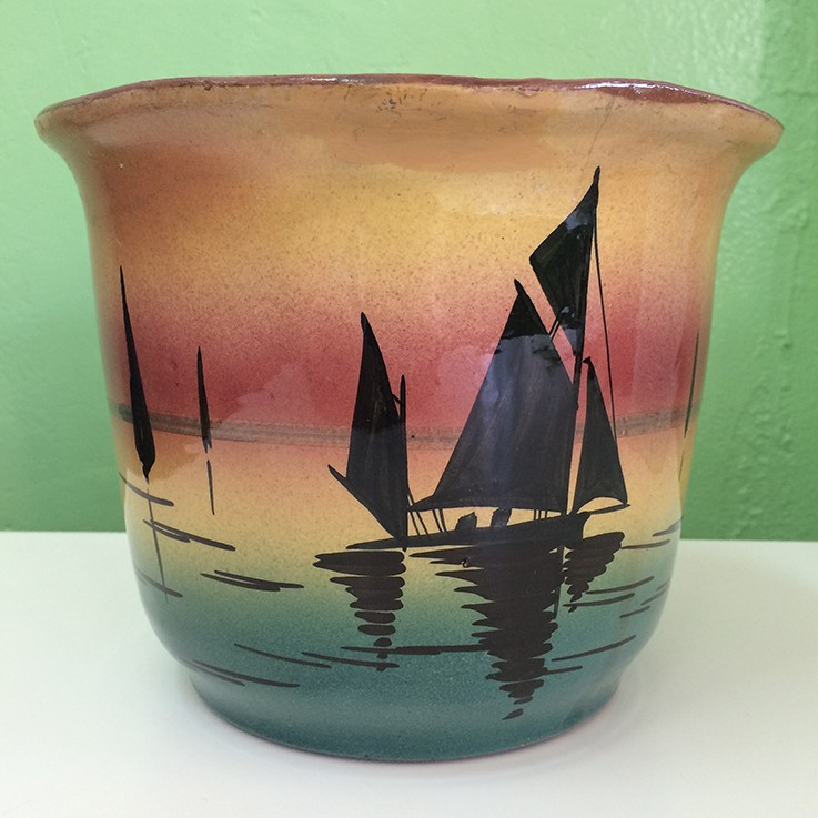 Torquay Pottery Sailing Scene Planter $25.00 by VINTAGE PLANTERS, POTS & TROUGHS